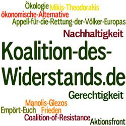 Koalition des Widerstands - Coalition of Resistance - Mikis Theodorakis - Manolis Glezos - Gemeinsamer Appell für die Rettung der Menschen Europas